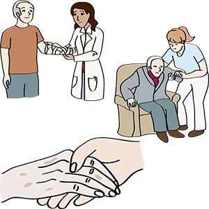 Patient, Mensch, der Pflege braucht, helfende Hände